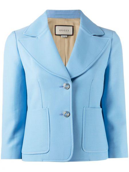 Niebieski wełniany blezer z kieszeniami z klapami Gucci