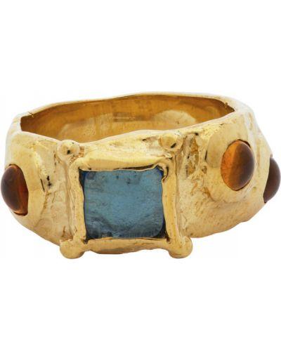 Замшевое синее кольцо с камнями Mondo Mondo