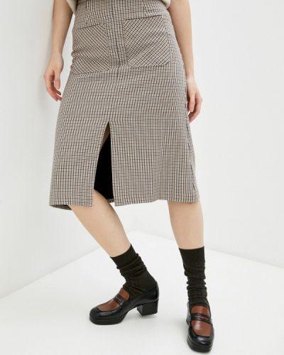 Бежевая прямая юбка карандаш Marks & Spencer