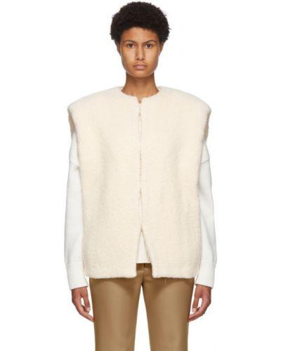 Белая жилетка с воротником с карманами из альпаки Isabel Marant