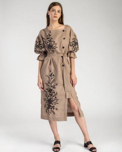 Этническое бежевое платье оверсайз Etnodim