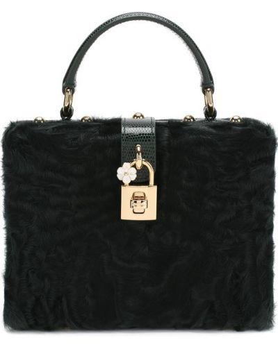 Кожаный сумка с мехом вечерняя Dolce & Gabbana