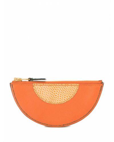Оранжевый кожаный кошелек для монет на молнии Hermes