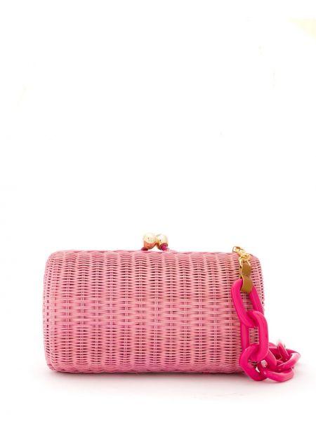 Розовая соломенная сумка на плечо Serpui