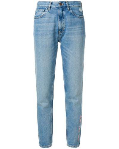 Джинсы с вышивкой - синие Mih Jeans