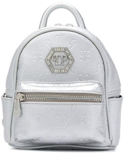 Серебряный рюкзак с карманами на молнии Philipp Plein