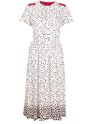 Прямое белое платье мини в горошек Undercover