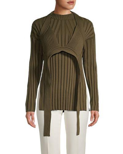 Зеленый шерстяной длинный свитер с длинными рукавами Proenza Schouler