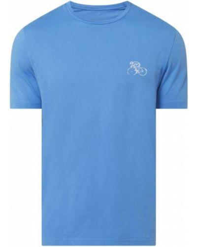 Niebieski t-shirt bawełniany z printem Armedangels