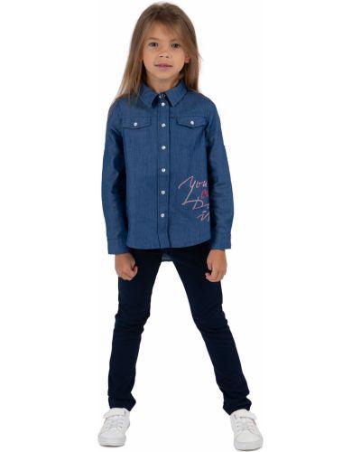 Синяя джинсовая рубашка с длинными рукавами с вырезом Leader Kids