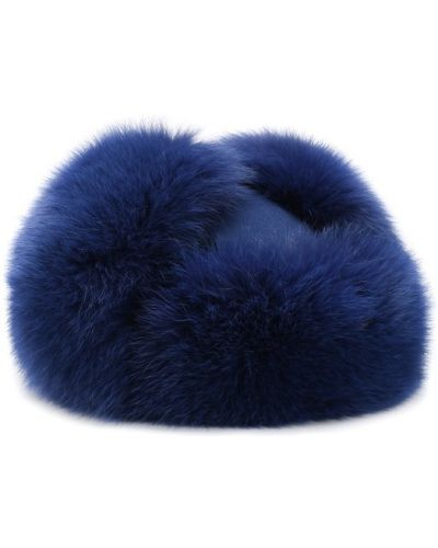 Синяя шапка с мехом Loro Piana