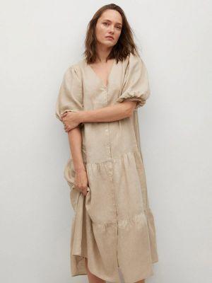 Бежевое платье рубашка Mango