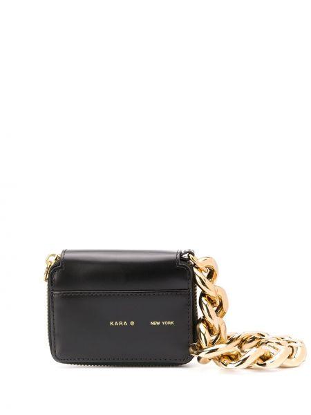 Złota torebka na łańcuszku - czarna Kara
