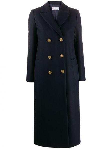 Niebieski płaszcz wełniany z długimi rękawami Redvalentino