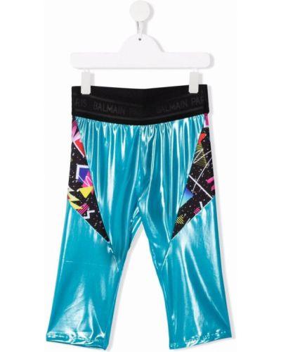 Niebieskie legginsy z printem Balmain Kids
