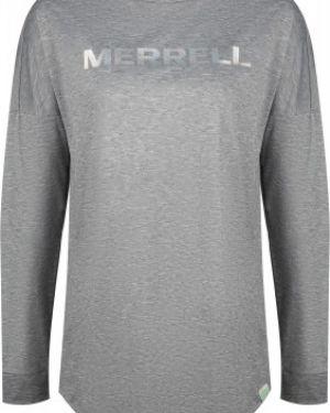 Футбольная приталенная серая спортивная футболка с сеткой Merrell