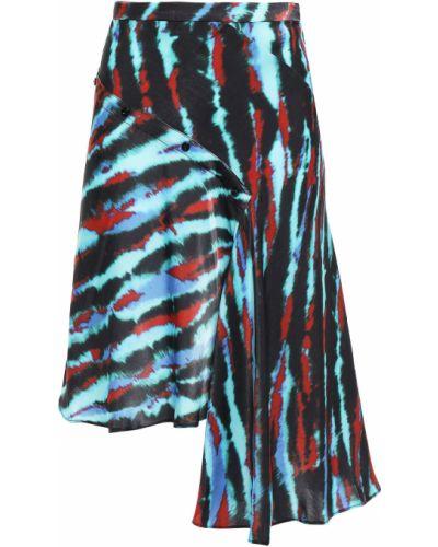 Асимметричная сатиновая черная юбка мини House Of Holland