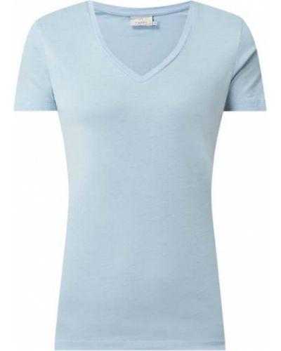 Niebieski t-shirt z dekoltem w serek bawełniany Kaffe