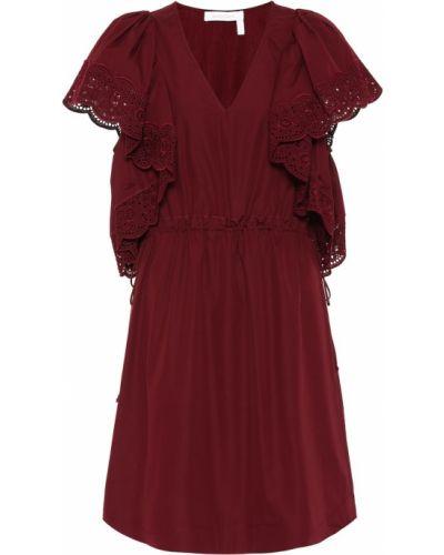 Летнее платье бордовый с кружевными рукавами See By Chloe