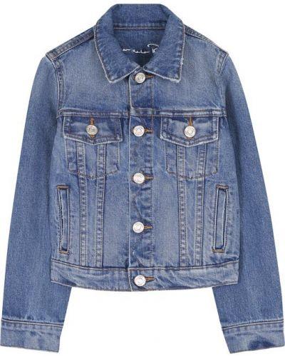 Джинсовая куртка с вышивкой синий Oscar De La Renta