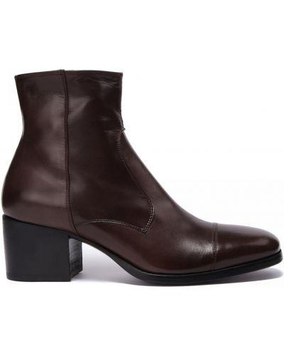 Коричневые кожаные ботинки квадратные Rocco P.