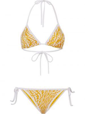 Пляжные белые бикини с чашками Fendi