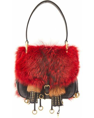 Кожаный сумка с бахромой с мехом Prada