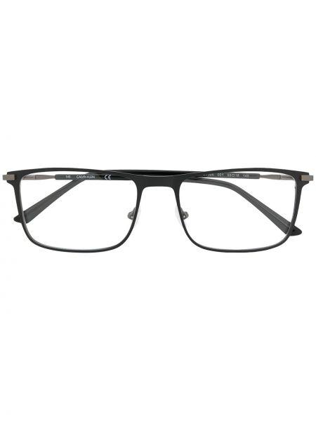 Czarny oprawka do okularów metal prostokątny Calvin Klein
