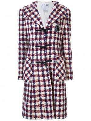 Шерстяное пальто с капюшоном айвори на пуговицах с лацканами Chanel Pre-owned