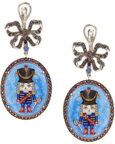 Серебряные серьги с гранатом с топазом Axenoff Jewellery