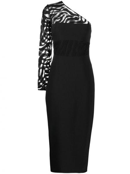 Черное приталенное платье миди на одно плечо на молнии David Koma