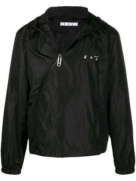 Z rękawami czarny długa kurtka z kapturem Off-white