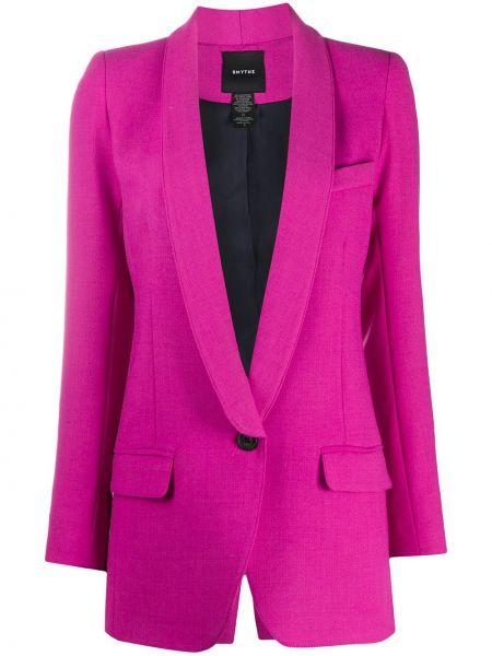 Шерстяной фиолетовый удлиненный пиджак на пуговицах Smythe
