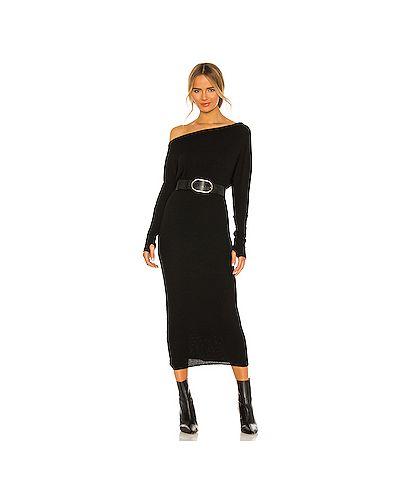 Черное платье в рубчик из вискозы с начесом Enza Costa