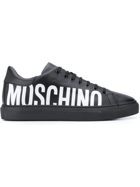Koronkowa czarny sneakersy zasznurować z prawdziwej skóry Moschino