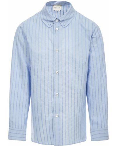 Niebieska koszula elegancka bawełniana Gucci