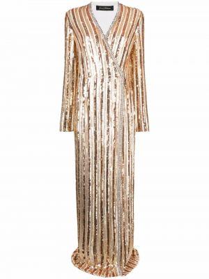 Złota biała sukienka wieczorowa z długimi rękawami Jenny Packham