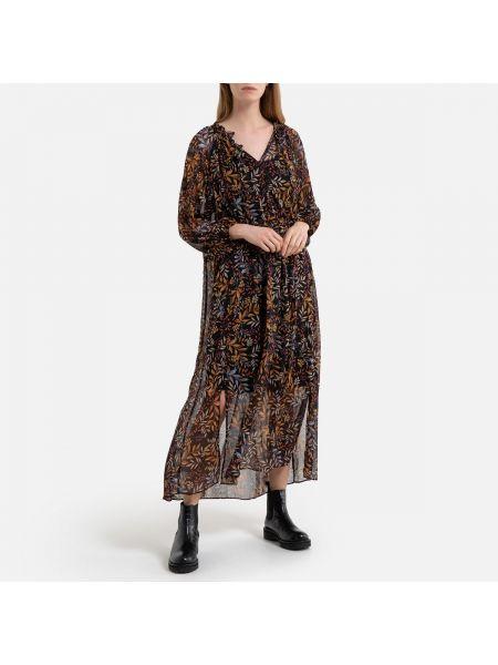 Платье миди с V-образным вырезом с поясом La Redoute