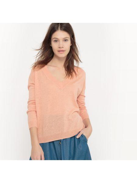 Пуловер с V-образным вырезом в рубчик La Redoute Collections