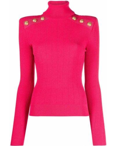 Розовый джемпер с длинными рукавами из вискозы Balmain