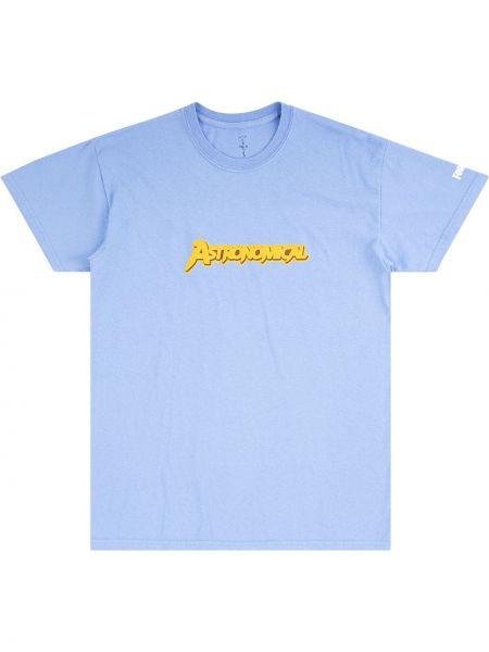 Niebieski t-shirt bawełniany krótki rękaw Travis Scott Astroworld