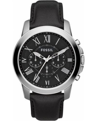 Czarny zegarek kwarcowy skórzany z paskiem Fossil