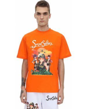 Pomarańczowy t-shirt bawełniany Sunset Soldiers
