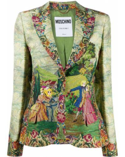 Прямой зеленый удлиненный пиджак на пуговицах Moschino