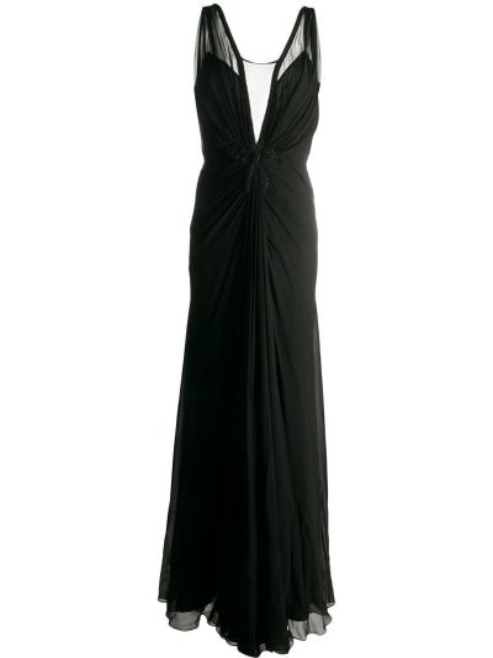 Шелковое платье с вышивкой без рукавов с вырезом Ports 1961