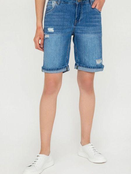 Расклешенные синие свободные джинсовые шорты со стразами Finn Flare