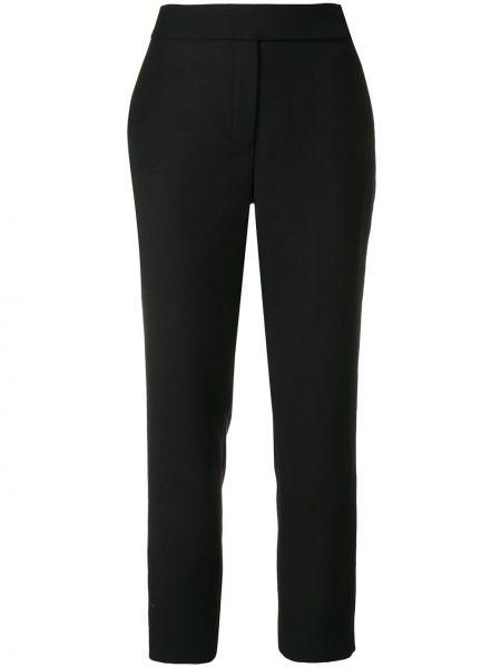 Czarne spodnie z wysokim stanem wełniane Osman