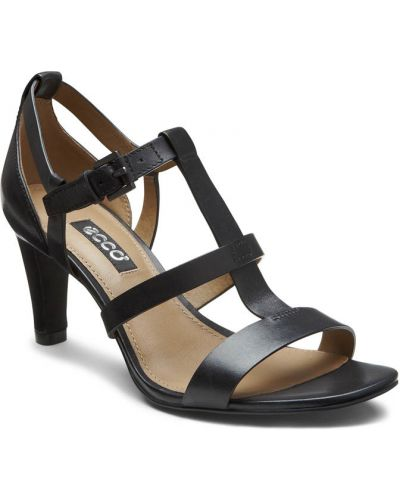 Босоножки на каблуке черные высокие Ecco