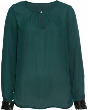 Блузка с длинным рукавом с пайетками боди Bonprix