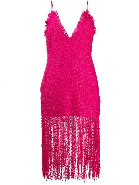 Платье миди с декольте с бахромой Msgm